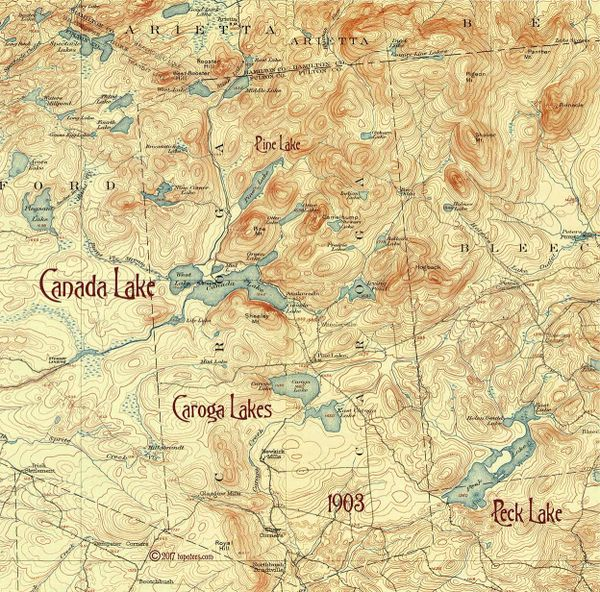 Canada Lake, Caroga Lake, Peck Lake 1903 New York Topographic Map ...