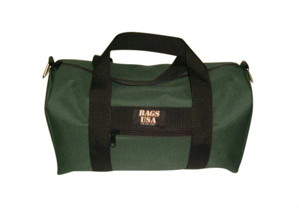 Duffle bag with front zipper pocket for id, keys and cell phone Made in USA.