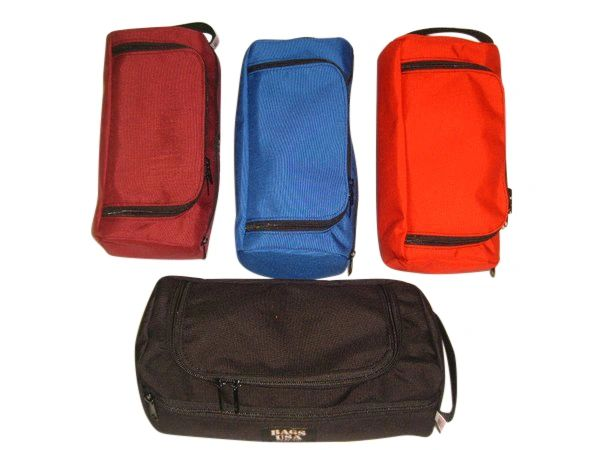 Deluxe toiletry bag with easy excess U opening and front pocket,Made in USA.
