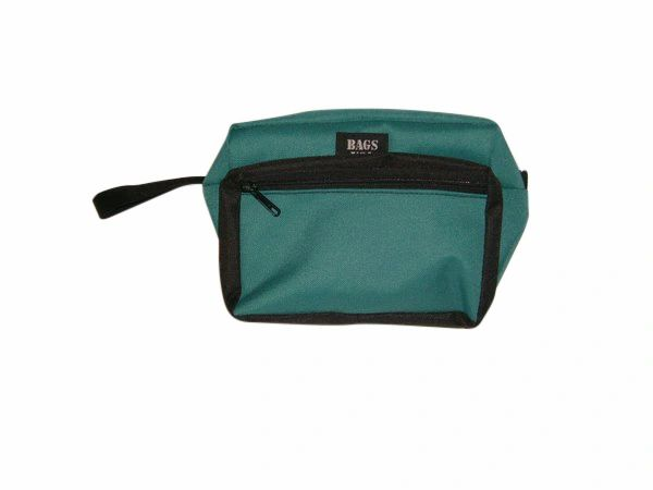 Toiletry bag has front pocket,holds everything you need,cosmetic travel kit Made in USA.