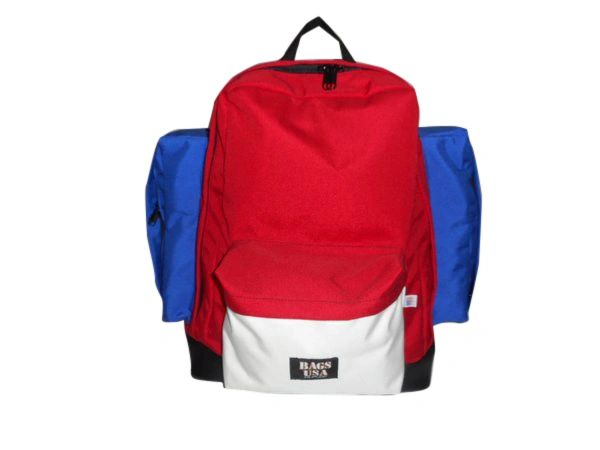 Backpack Deluxe model two side pockets, leather or suede bottom,Made in USA.