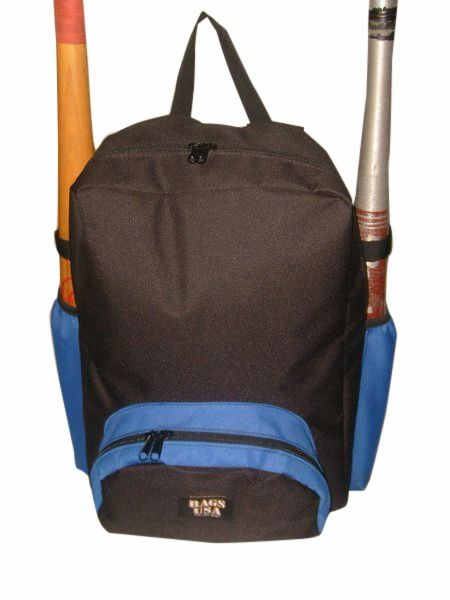 Baseball or softball equipment backpack,holds two bats Made in USA.