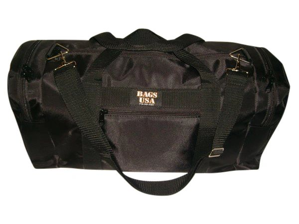 Duffle bag,travel or gym bag Large. triple compartment and front pocket Made in USA.