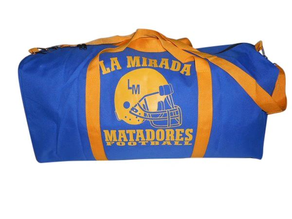 Extra Large football travel gear bag with LA MIRADA MATADORS Logo USA Made.