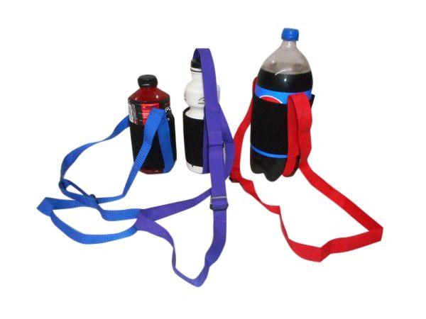 Bottle holder 1 size fits all, strap closure adjustable shoulder strap.