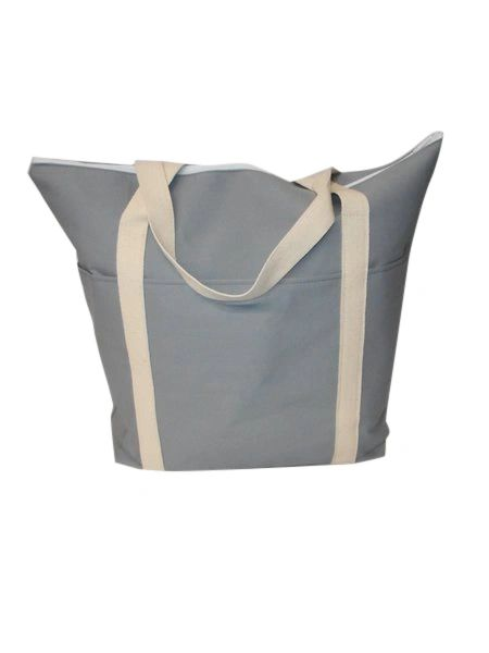 tote bag Jumbo size 18 oz light Gray canvas, boat canvas tote bag Made in USA.