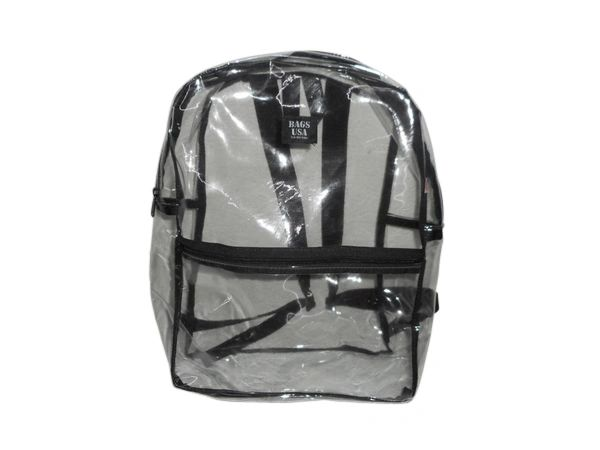 Transparent stadium clear security PVC backpack Made in USA.