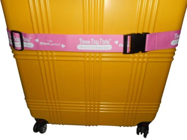 Suitcase luggage strap 2 inch wide Pink,Brown bag party accessory Made in USA.