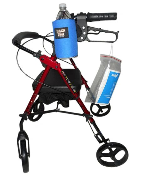 Beverage holder for Rollator or Walker, fully padded holds 16 fl oz bottle Made in USA.