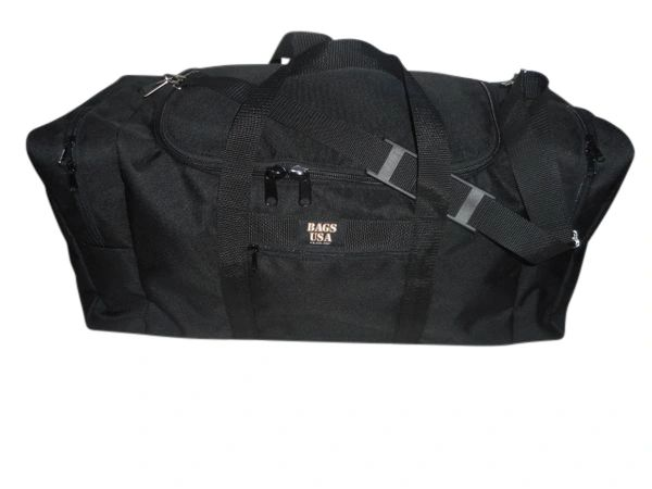 Oversize square duffle with front pocket Made in USA.