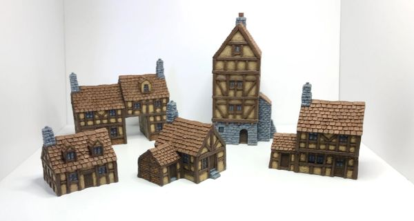 (10mm) 5 - Piece Timber Framed Buildings Set