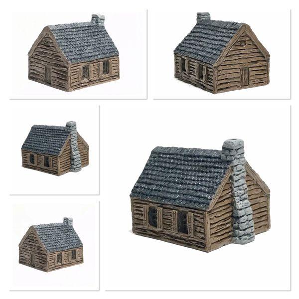 (6mm) 6 x Tiled Timber Shacks