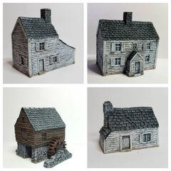 (10mm) 4 - Piece ACW / AWI Buildings Set