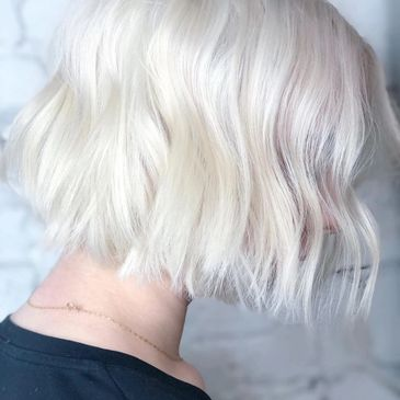 Platinum Blonde Bob haircut Philadelphia Salon