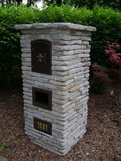 Custom stone mailbox built by professional masonry contractors