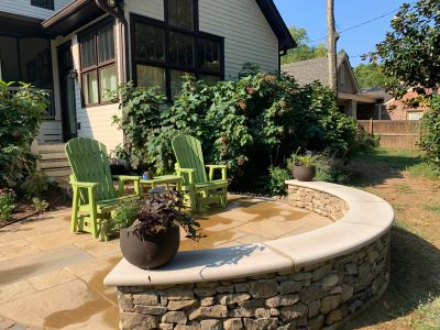Backyard patio installation by residential patio contractors