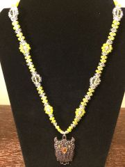 22 inch Necklace Yellow with Owl Pendant