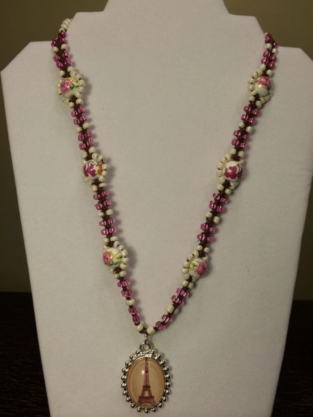 22 inch Necklace Pink White with Eiffel Tower Pendant