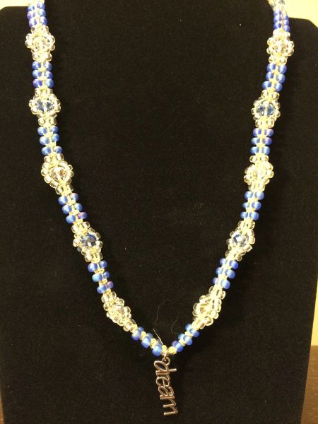22 inch Necklace Blue with Dream Pendant