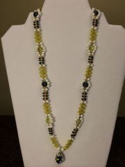 22 inch Necklace Black White Yellow with Flower Ball Pendant