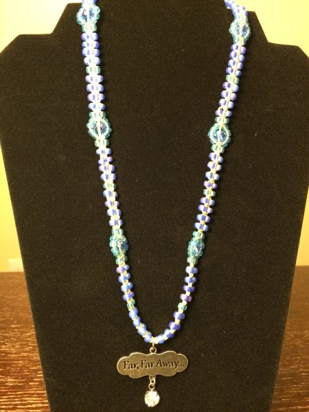 22 inch Necklace Blue with Far Far Away Pendant