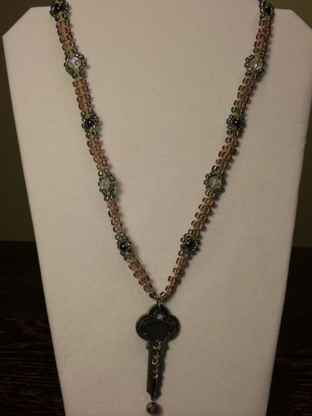 22 inch Necklace Purple with Key Pendant