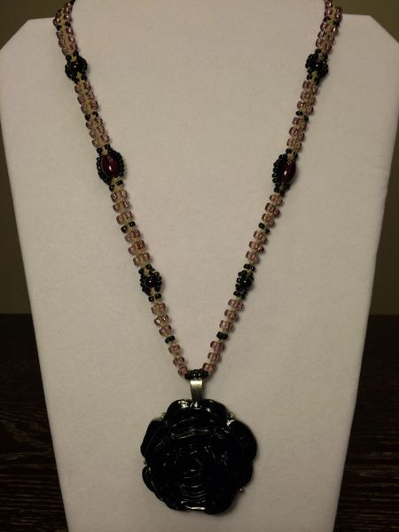22 inch Necklace Purple with Metal Rose Pendant