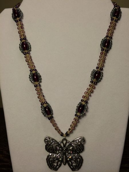 22 inch Necklace Two Tone Purple with Butterfly Pendant