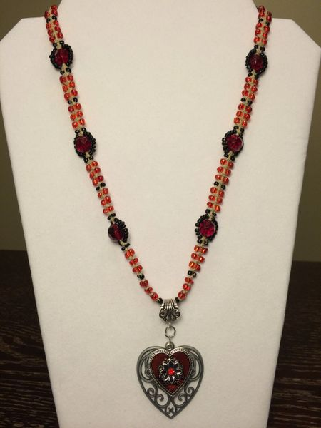 22 inch Necklace Red Black with Double Heart Pendant