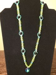 22 inch Necklace Two Tone Green with Snowflake Pendant