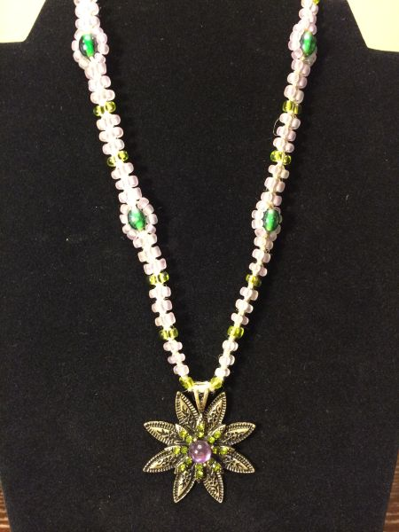 16 inch Necklace Purple with Flower Pendant