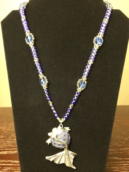 22 inch Necklace Blue with Fish Pendant