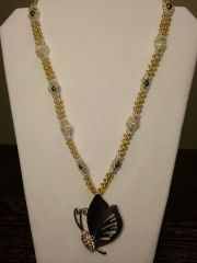 22 inch Necklace Yellow with Butterfly Pendant