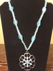 22 inch Necklace Blue Silver with Flower Pendant