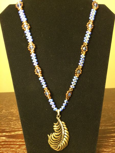 22 inch Necklace Blue Bronze with Feather Pendant