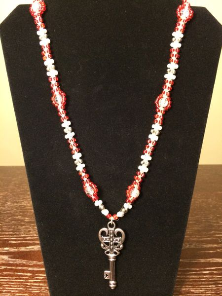 24 inch Necklace Red White with Cross Heart Key Pendant