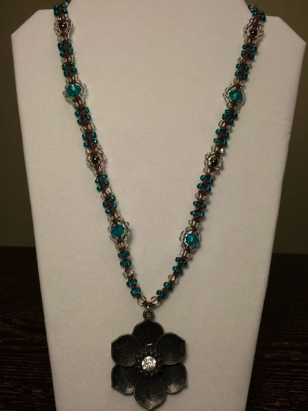 24 inch Necklace Aqua with Flower Pendant