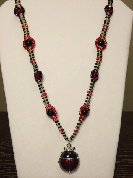 24 inch Necklace Red Black with Ladybug Pendant
