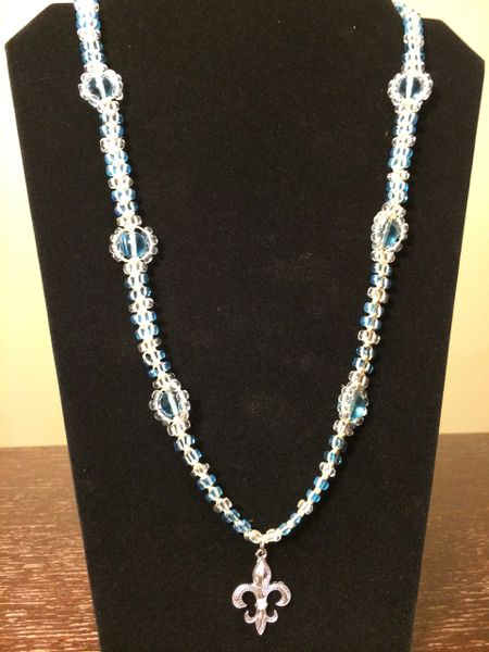 26 inch Necklace Blue with Fleur-de-lis Pendant