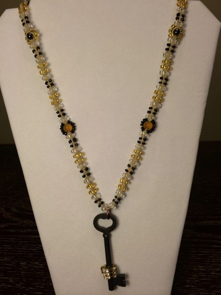 26 inch Necklace Yellow Black with Key Pendant