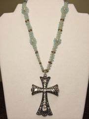 16 inch Necklace Blue with Cross Pendant