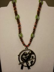 16 inch Necklace Brown with Lovebirds Pendant