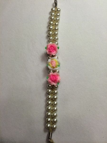 7 inch Bracelet White with Pink Flower Beads