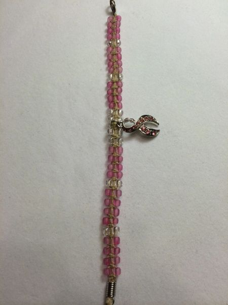 7 inch Bracelet Pink with Breast Cancer Awareness Ribbon Charm