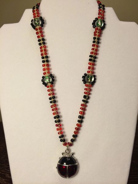 18 inch Necklace Red Black with Ladybug Pendant