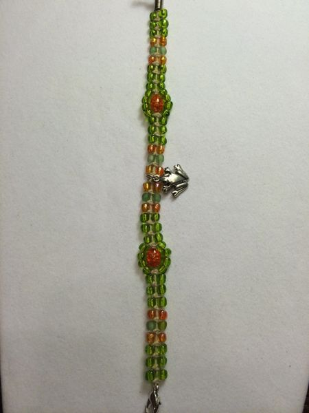 8 inch Bracelet Green Orange with Frog Charm