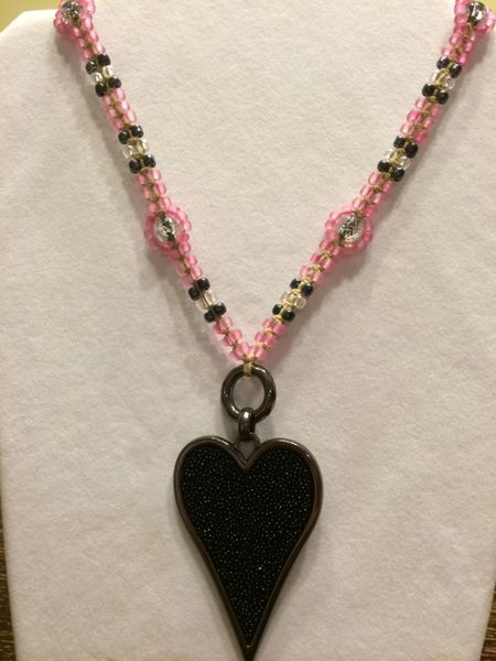 18 inch Necklace Pink with Heart Pendant