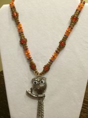 18 inch Necklace Brown Orange with Owl Pendant