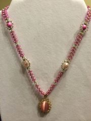 18 inch Necklace Pink with Oval Decorative Pendant