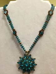 18 inch Necklace Aqua with Flower Pendant